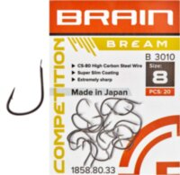 Крючок Brain Bream B3010 #8 (20 шт/уп) ц:black nickel