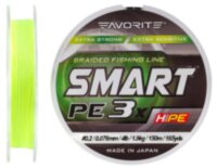 Шнур Favorite Smart PE 3x 150м (fl.yellow) #0.2/0.076mm 4lb/1.9kg
