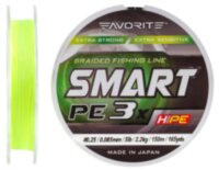 Шнур Favorite Smart PE 3x 150м (fl.yellow) #0.25/0.085mm 5lb/2.2kg